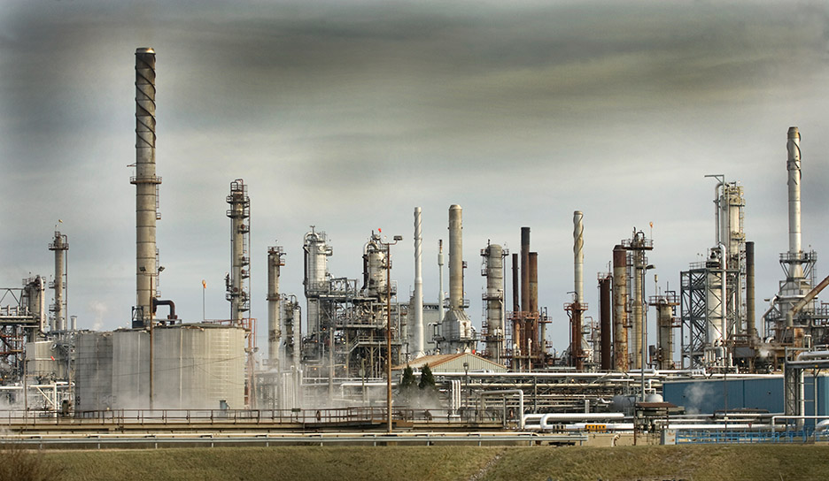 Oil refinery, industrial photography