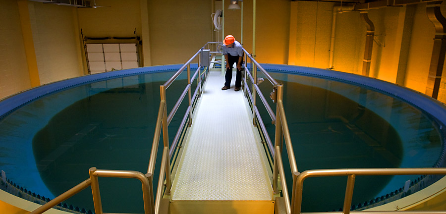 Water holding pool, waste treatment plant